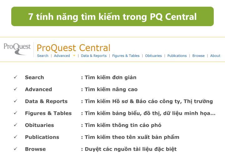 7 tính năng tìm kiếm trong PQ Central