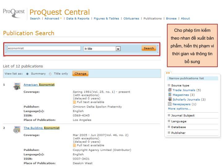 Cho phép tìm kiếm theo nhan đề xuất bản phẩm, hiển thị phạm vi thời gian và thông tin bổ sung