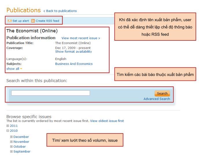 Khi đã xác định tên xuất bản phẩm, user có thể dễ dàng thiết lập chế độ thông báo hoặc RSS feed