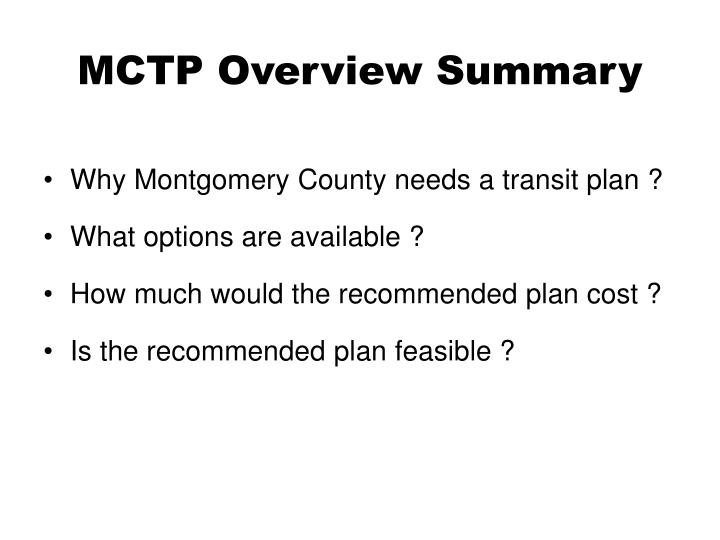 Mctp overview summary