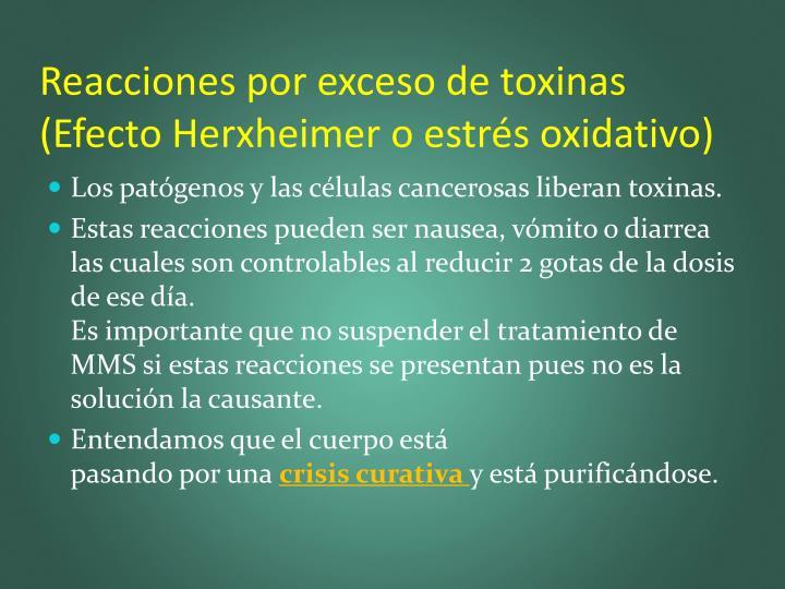 Reacciones por exceso de toxinas (Efecto