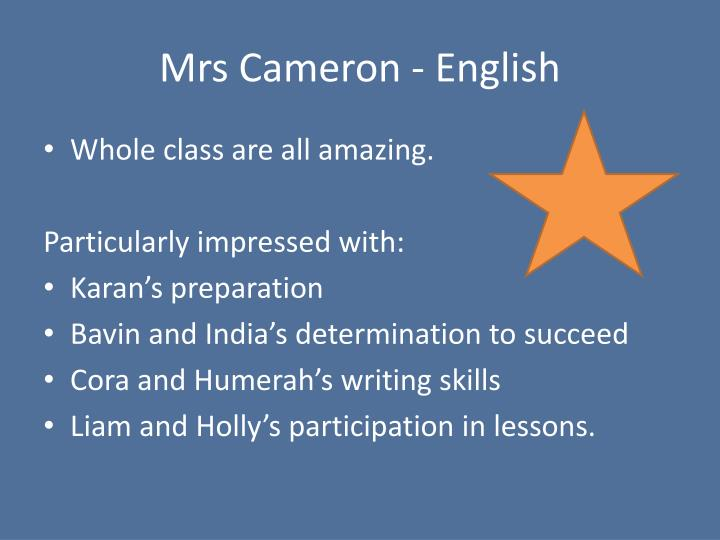 Mrs Cameron - English
