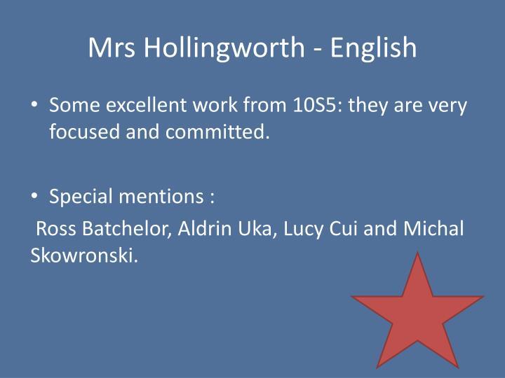 Mrs Hollingworth - English
