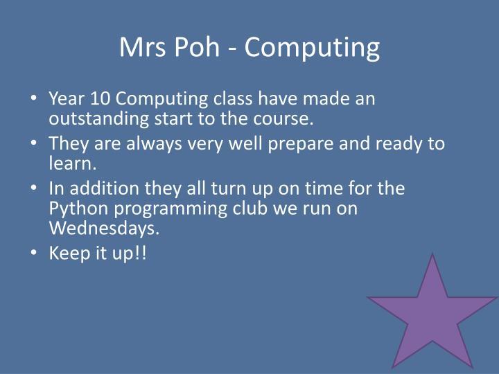 Mrs Poh - Computing