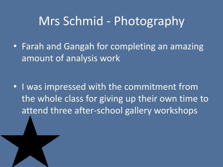 Mrs Schmid - Photography
