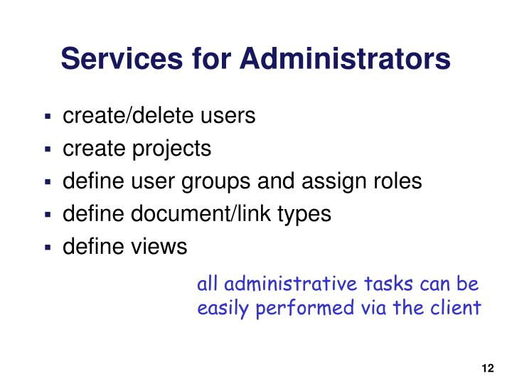 Services for Administrators