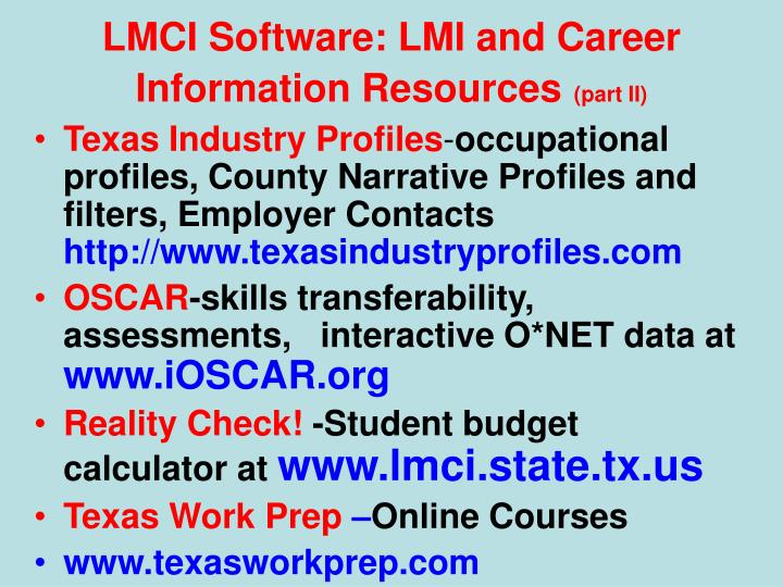 LMCI Software: LMI and Career Information Resources