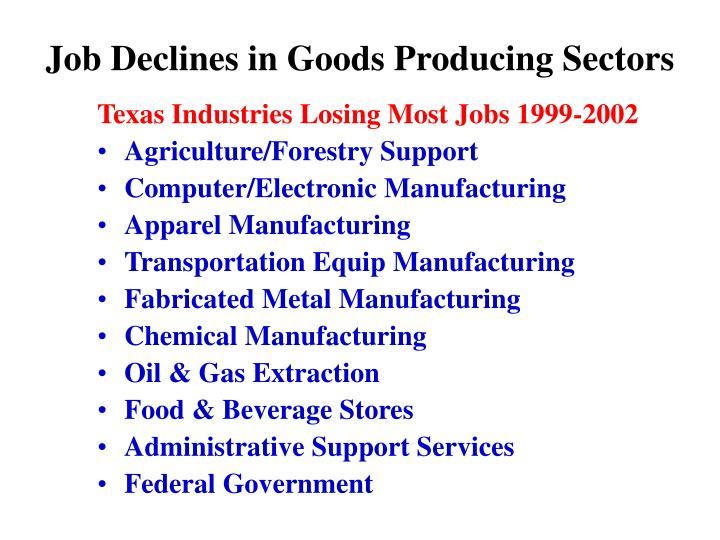 Job Declines in Goods Producing Sectors