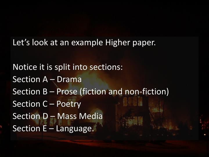 Let's look at an example Higher paper.