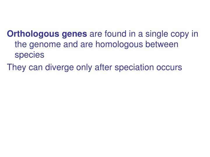 Orthologous genes
