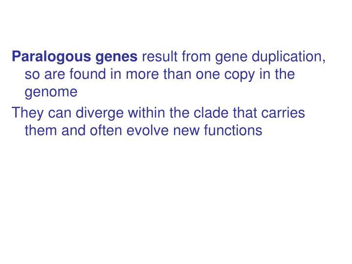 Paralogous genes