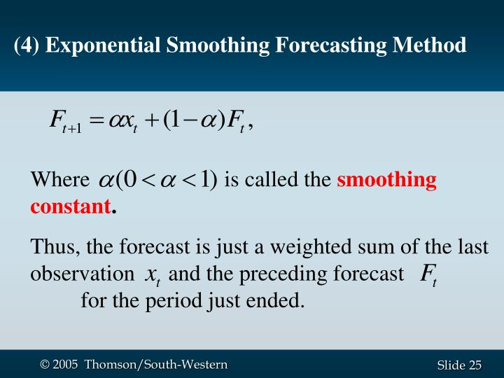(4) Exponential Smoothing Forecasting Method