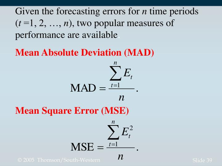 Given the forecasting errors for
