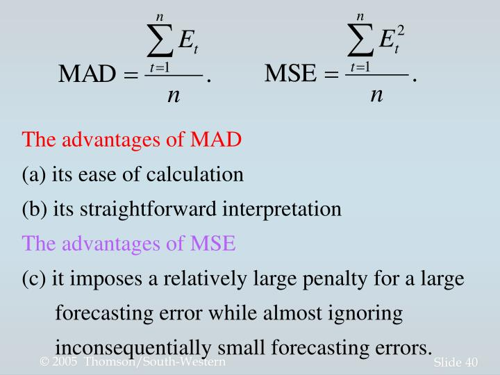 The advantages of MAD