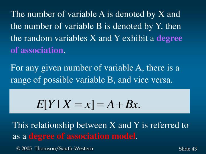 The number of variable A is denoted by X and the number of variable B is denoted by Y, then the random variables X and Y exhibit a