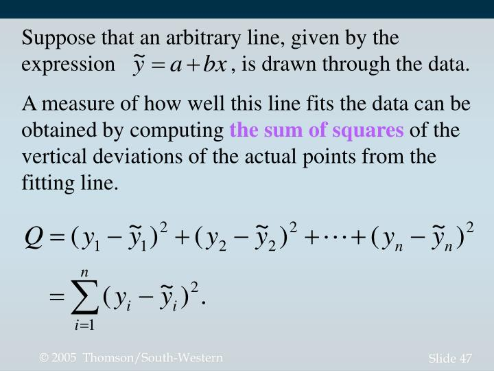 Suppose that an arbitrary line, given by the expression                     , is drawn through the data.