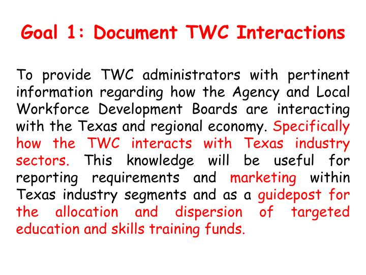 Goal 1: Document TWC Interactions