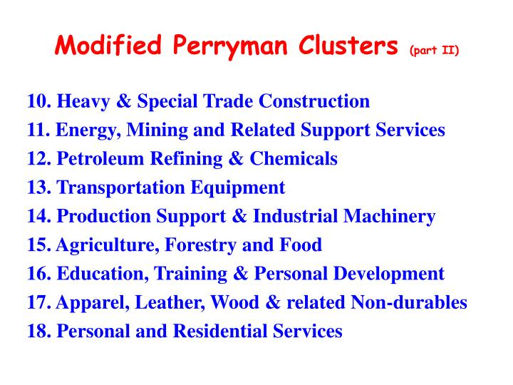 Modified Perryman Clusters