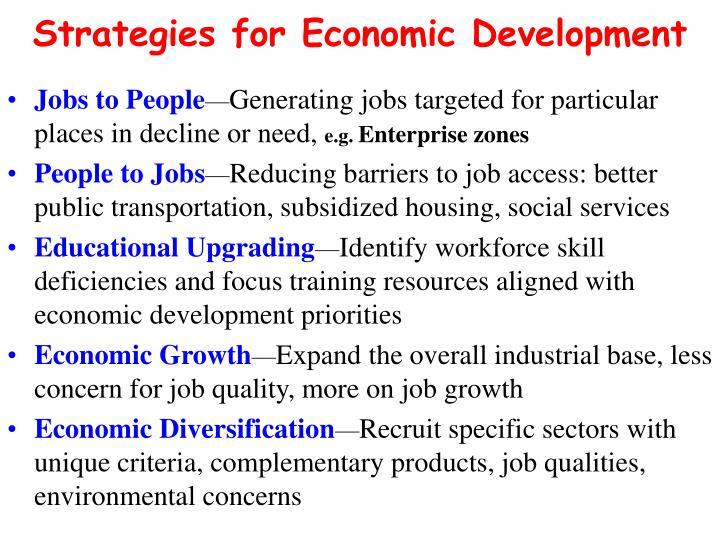 Strategies for Economic Development