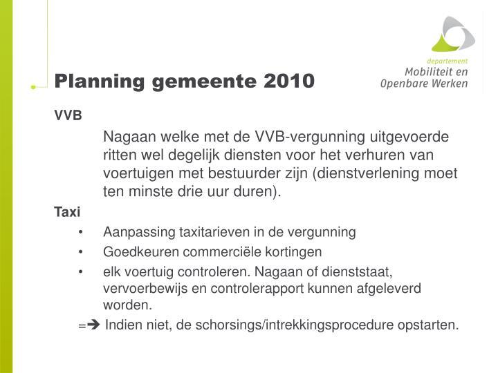 Planning gemeente 2010