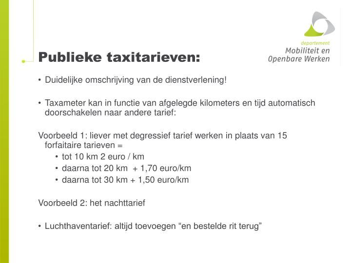 Publieke taxitarieven: