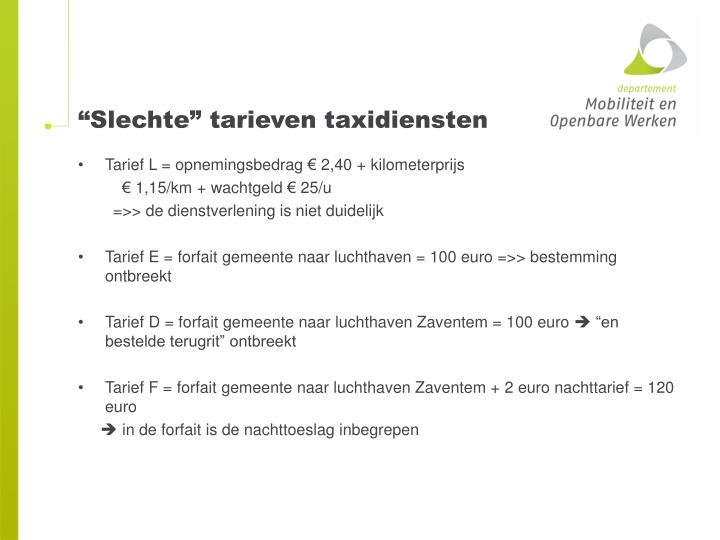 """""""Slechte"""" tarieven taxidiensten"""