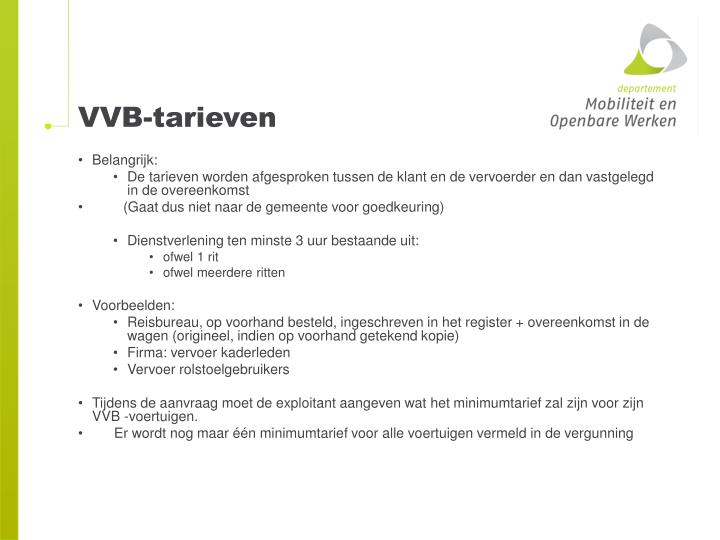 VVB-tarieven