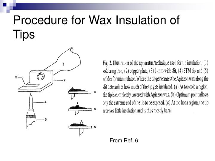 Procedure for Wax Insulation of Tips