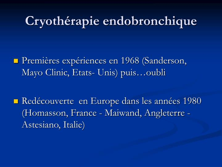 Cryoth rapie endobronchique