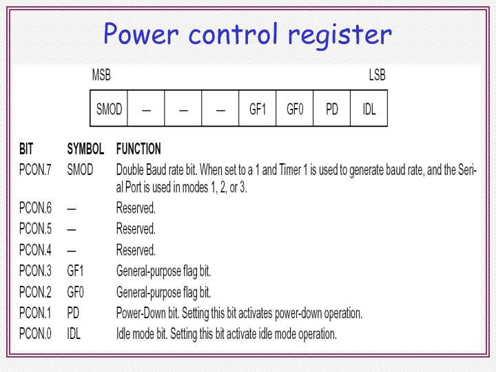 Power control register