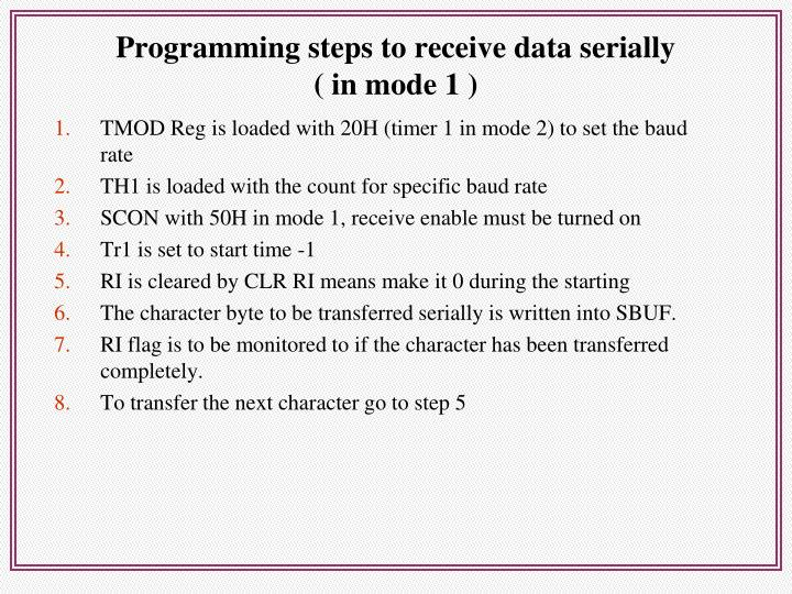 Programming steps to receive data serially