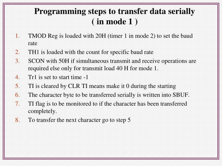 Programming steps to transfer data serially