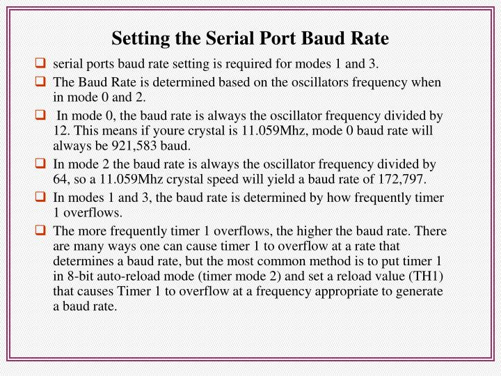 Setting the Serial Port Baud Rate