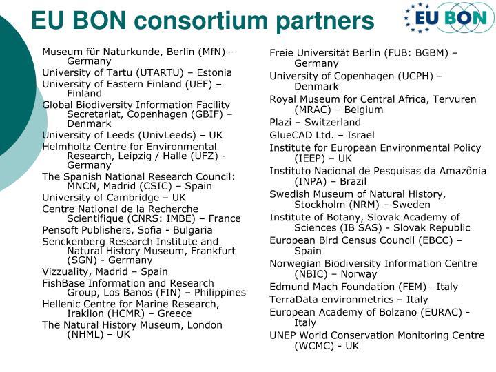 EU BON consortium partners