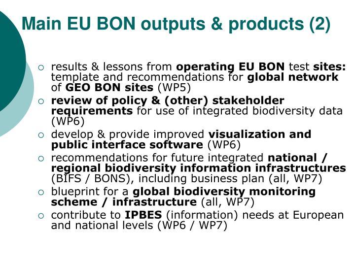 Main EU BON outputs & products (2)