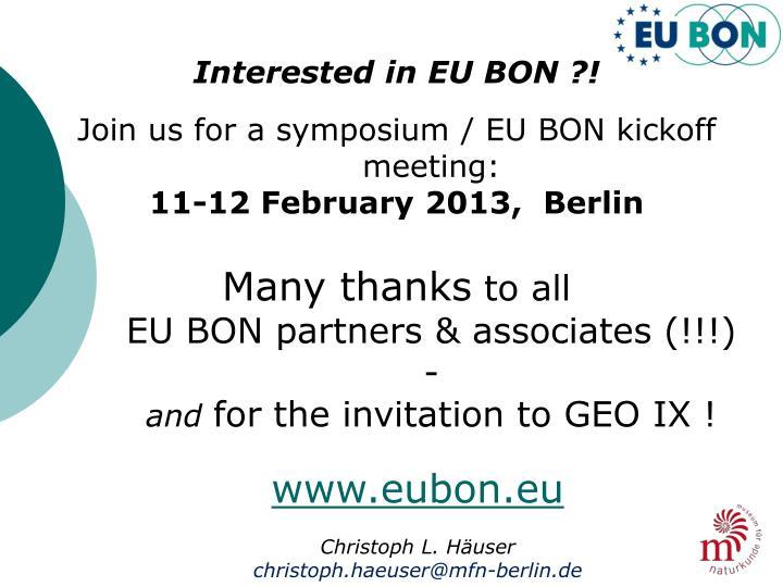 Interested in EU BON ?!