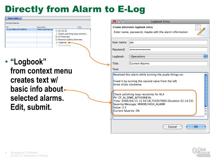 Directly from Alarm to E-Log