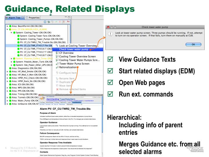 Guidance, Related Displays Commands