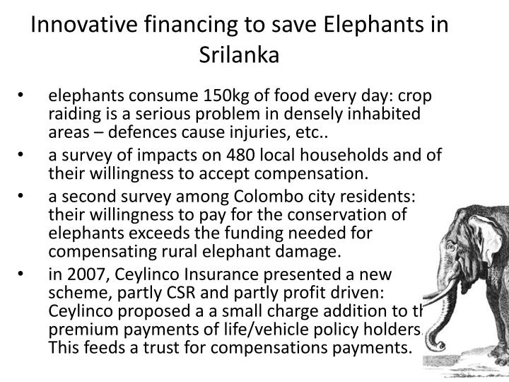 Innovative financing to save Elephants in Srilanka