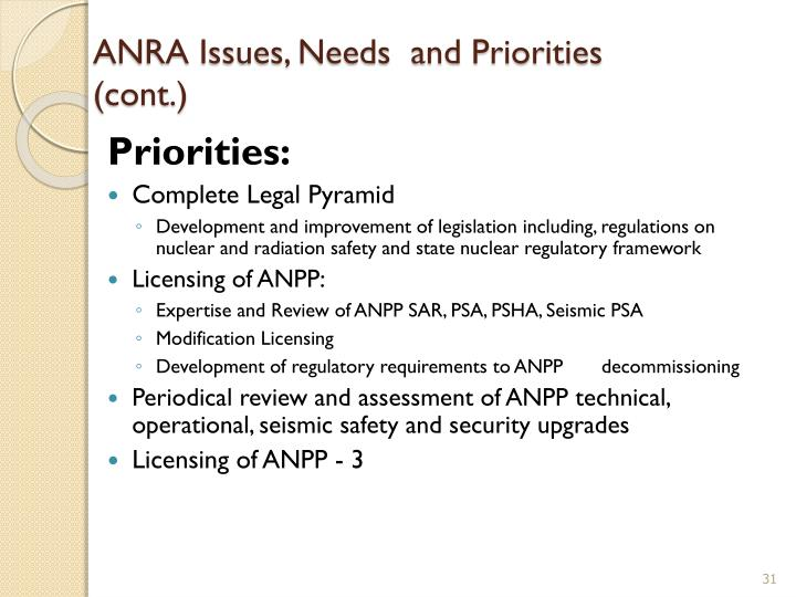 ANRA Issues, Needs  and Priorities