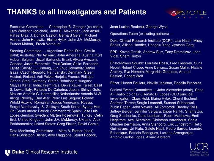 THANKS to all Investigators and Patients