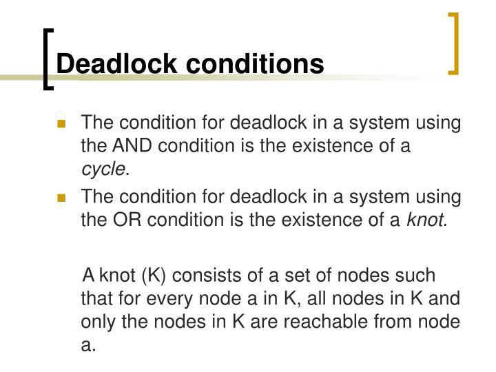 Deadlock conditions