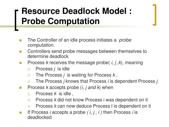 Resource Deadlock Model : Probe Computation