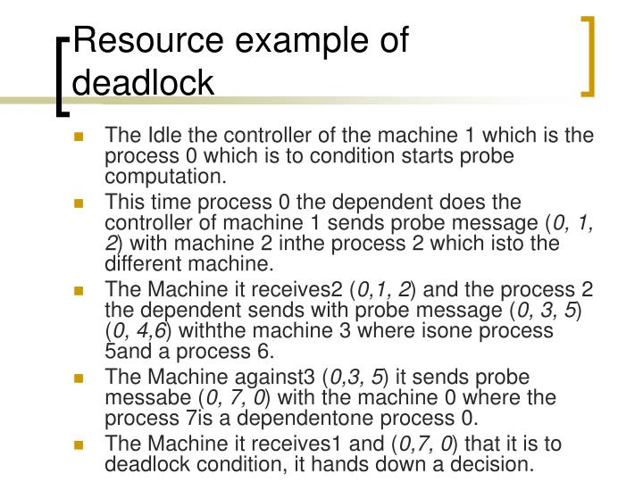 Resource example of deadlock