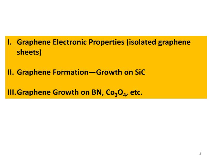 Graphene Electronic Properties (isolated graphene sheets)