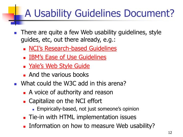 A Usability Guidelines Document?