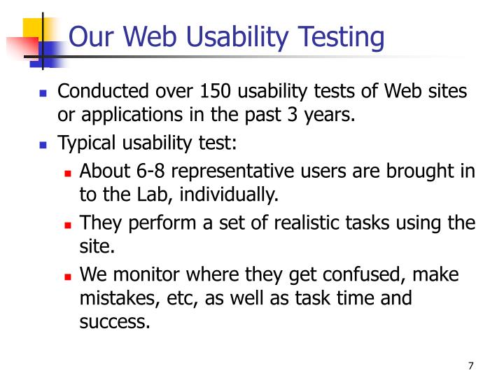 Our Web Usability Testing