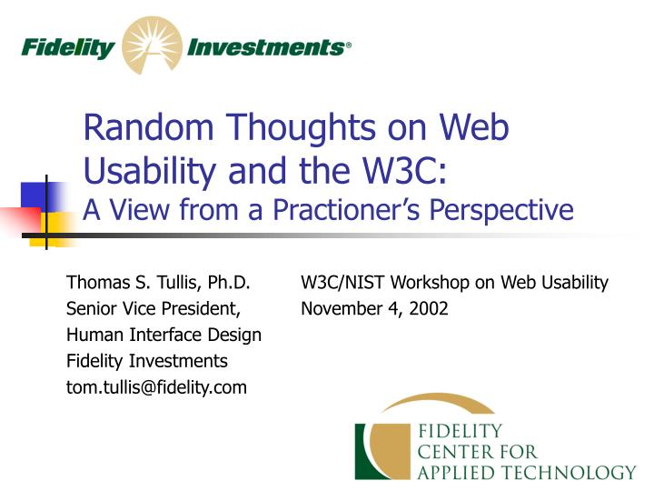 Random Thoughts on Web Usability and the W3C: