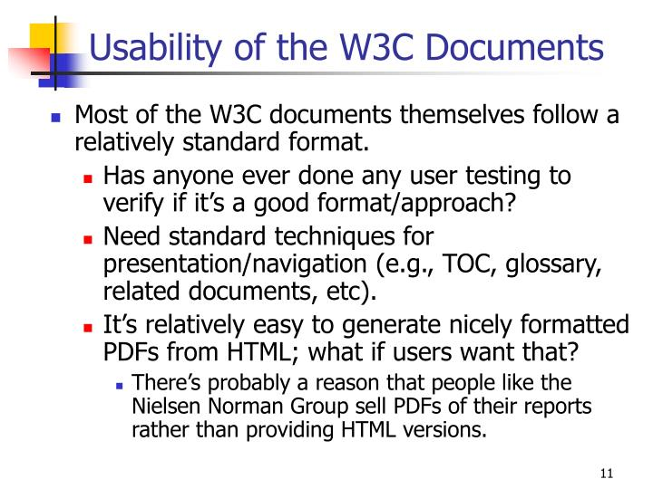 Usability of the W3C Documents