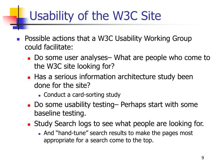 Usability of the W3C Site